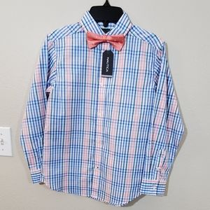 New boys Nautica blue plaid shirt and bow tie